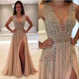 2018 Sexy Deep V Neck See-through Prom Dresses with High Split Sparkly Beading Crystal Evening Gowns Women Arabic Party Dresses BA7715