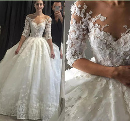 Elegant Ball Gown Wedding Dresses Half Sleeve 3D-Floral Appliques Vintage Lace Sheer Neck Puffy Bridal Dress Wedding Gowns Vestido de Novia