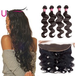 UNice Hair Brazilian Virgin Body Wave With Frontal Free Part Ear to Ear 3Bundles Weaves With 13x4 Lace Lace Frontal Human Remy Hair