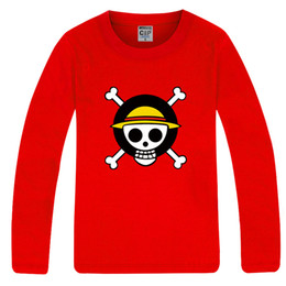 Free shipping long sleeve t shirt One Piece Anime T-Shirt Tee Monkey D Luffy Flag Tee 100% cotton 6 colors chinese size: S-XXXL