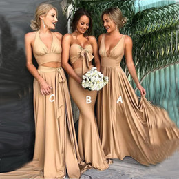 2019 Sexy New Gold Chiffon Bridesmaid Dresses with Split Two Pieces Long Prom Dress Formal Wedding Beach Guest Gowns Custom Made
