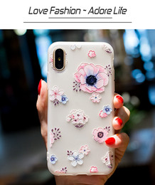 Soft TPU Case For iPhone 5S SE 6 6S 7 8 Plus 3D Relief Flowers Print Ultra Thin Silicone Cell Phone Case For iPhone X free shipping 2018