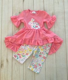 New Baby Girls Rabbit embroidered two-piece Suits Set Ruffle Dress + Flower Printed Pant Outfits Kids Halloween cosplay costumes Clothing