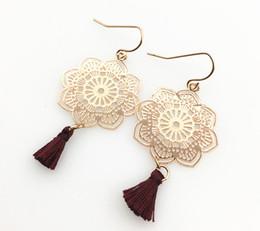 Filigree Earrings Flower shape tassel drop Dangle Earrings Fish hook wholesale free shipping For women giift