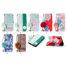 Flower Leather Wallet For Iphone XR XS MAX X 8 7 6 5 SE Galaxy S10 S10e S9 Case Stylish Floral ID Card Slot Flip Cover Holder Pouch+Strap