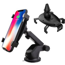 2018 Hot Selling 360 Rotation Car Phone Holder Portable Fast Qi Wireless Charger For iPhone X 8 Plus Air Vent Car For Samsung Note 8 S8 Plus