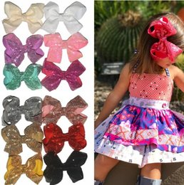 20colors 6 inch Rainbow Sequin Hair Bow Bling bows Hair Clip Baby Girl Rainbow Bestie Jojo Bows