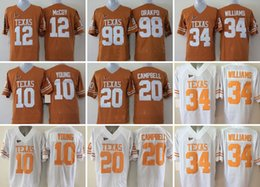 Ncaa Mens 10 YOUNG 12 Colt McCoy 34 Clliaonnor Wims 35 Kevin Durant 98 Orakpo 20 Earl Campbell College Texas Longhorns football Jerseys
