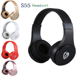 High qulity S55 Bluetooth Wireless Stereo Music Headset With Mic Adjustable Headband Earphones Support TF Card Retail Box For Smartphones