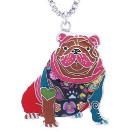 English Bulldog Necklace Gifts for Women Dog Lovers Novelty Pendant can be used as Car Keychain