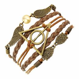 AFSHOR Vintage leather rope harry Deathly Hallows bracelets hand weave multilayer retro potter bracelets for movie fans AF005