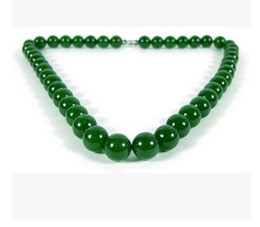 > > free shipping Xinjiang Hetian Natural Jade Necklace Kunlun Jade Jasper Spinach Green Necklace Round Pearl Jade Necklaces Male and Female