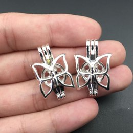 Pearl cage necklace pendant, essential oil diffuser, butterfly provides silver 10pc, adding your pearl more attractive.
