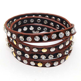 New Fashion Studded Crystal Metal Rivet Leopard Printed PU Leather Multiple Wrap Bracelets