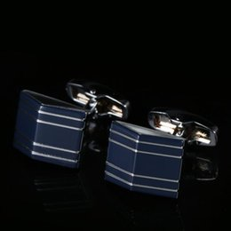 High-quality geometric dark blue French men's cufflinks business Cuff nails Free shipping