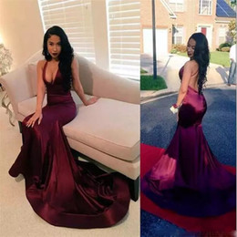 2018 Sexy Grape Backless Satin Prom Dresses With Deep V Neck Long Mermaid Evening Gowns Count Train African Vestidos Cocktail Dress