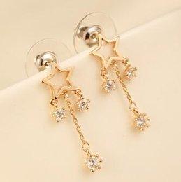 Women Drop Dangle Earrings Fashion Accessories Zircon Hollow Out Star Tassel Rose Gold Plated Earrings Jewelry