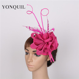 a7f19307d31 NEW ARRIVAL 17 color hot pink imitation sinamay fascinator hats with  Ostrich pole wedding headwear party Derby hair accessories