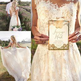 Vintage Beach Bohemian Wedding Dresses Full Skirt Sheer Neck Full Lace Pleated Tulle Bridal Gowns Custom Made