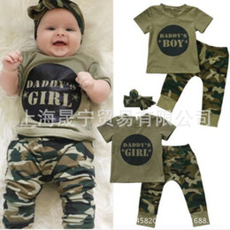 NWT INS 2018 New cute Letter Print Baby Girl Spring Outfits 3piece camouflage Set Cotton Tops Shirts + pants + headwrap bibs