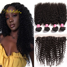Nadula Virgin Brazilian Curly Hair Bundles With Frontal Closure Raw Indian Hair Lace Frontal with Bundles Peruvian Remy Hair Cheap Wholesale
