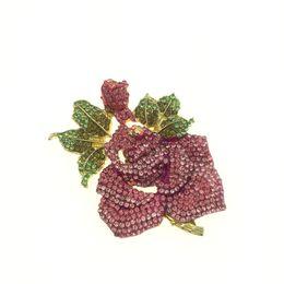 Rose Flower Brooch Pin with Rhinestone for Women Birdal Girl Prom Jewelry