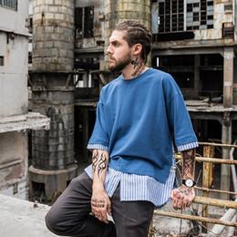 European High-end Street False Two Paper Rendering Joker Lengthen Fund Fivepence Sleeve T Pity Arc Skirt Fashion Men's Tide