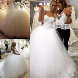 2019 Elegant Beads Pearls Tulle Ball Gown Wedding Dresses Court Train Crystals Wedding Gowns Zipper Back Bridal Dress Plus Size Custom Made