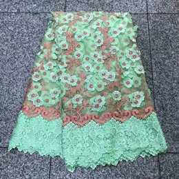 Very nice STONES WITH BEADS French Lace African bridal tulle lace fabric for aso ebi and other important family events 5 yards