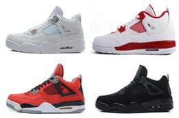 With box Wholesale 4 white cement Bred Fire red IV 4s Men Women Basketball Shoes sneakers sports trainers SIZE 41-47