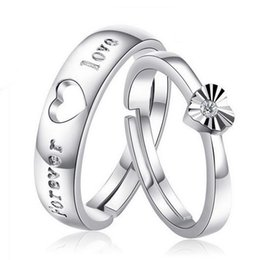 Free shipping noble couple rings love forever letter hollow heart rings new lover gift sterling silver ring