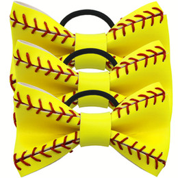 2018 softballsunny yellow softball baseball basketball sports flowers bows hair jewelry grils mothers gifts