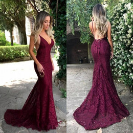 Fast Shipping Cheap Prom Dresses 2018 New Design Spaghetti Straps Mermaid Court Train Sexy Backless Burgundy Lace Evening Gowns