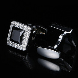 New European and American French Cufflinks Black Gem Men's Shirt Cufflinks Cufflinks Free Shipping