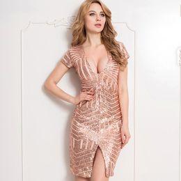 wholesale Women's short sleeve dress Deep v-neck Cocktail party Slim dress Fashion women's clothing Rose Gold Sequins
