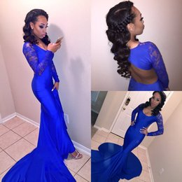2018 New Scoop Royal Blue Arabic Mermaid Prom Dresses Long Sleeves Lace Hollow Back Formal Evening Dresses Party Gowns For Black Girls