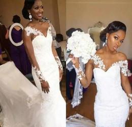 African Mermaid Wedding Dresses Sweetheart Sheer Neckline Lace Appliques long Sleeves Wedding Gowns Cunt Train Cheap Bridal Dress Beach Wear
