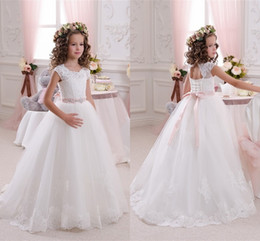 Only $59 Cheap Flower Girl Dresses White Ivory For Weddings 2018 Cute Keyhole Backless With Sash Girls Communion Dress MC1541