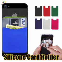 Colorful Silicone Card Set Universal Ultra Slim Soft Card Pocket for iPhone X Sumsung S9 LG Stylo 4 Huawei Cellphone Credit Card Holder