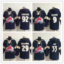 Men Hockey Jersey Colorado Avalanche 19 Joe Sakic 92 Gabriel Landeskog 29 Nathan MacKinnon 9 Matt Duchene Hoodie Sweatshirt