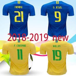 Top thai quality 2018 world cup Brazil home away Soccer Jersey 18 19 #7 D.COSTA #11 COUTINHO #9 G.JESUS adult Football shirt uniforms sales
