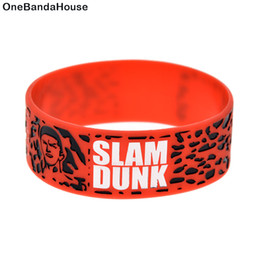 50PCS Lot 1 Inch Wide Bracelet Slam Dunk Shohoku Silicone Wristband Great To Used In Any Benefits Gift For Fans