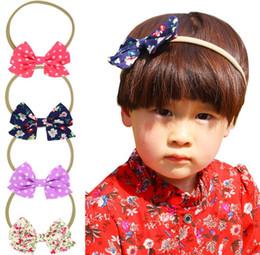 Baby Girls Flower Headbands Elastic Polka Dot Bow Headband Children Kids Cloth Hair Accessories Baby Girls Nylon Bowknot Hairbands KHA507