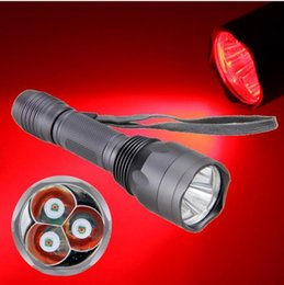 Free shipping 2018 New 15W 3X Pc XPE 1-Mode RED LED Tactical 18650 Flashlight Torch Hunting Light Lamp