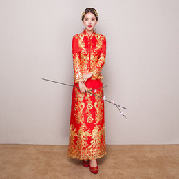 JYR635 High quality Red Chinese Wedding Dress Female Cheongsam Gold Slim Chinese Traditional Dress Women Qipao for Wedding Party