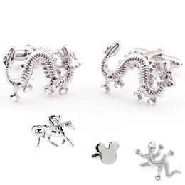 men's cufflink animal cufflinks silver fashion cuff-link dragon horse sleeve button for men accessories cuff buttons 10pair lot