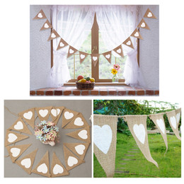 2018 13pcs Jute Fabric Bunting Banner white Heart Flags vintage Wedding Party Burlap Banners Rustic wedding decoration Cent free shipping