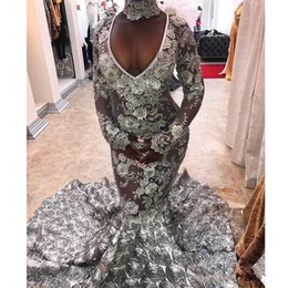 Gorgeous 3D Floral Train Mermaid Prom Dresses V-Neck Beads Lace Applique 2K18 Black Girl Party Dress See Through Long Sleeves Pageant Gowns