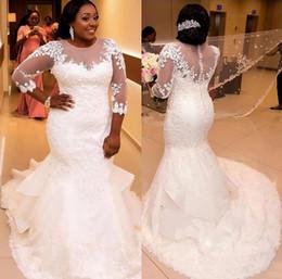Plus Size 2019 Appliqued Lace African Wedding Dresses Mermaid See Through 3 4 Sleeves Long Bridal Gowns For Big Size Bride Vestidos De Novia