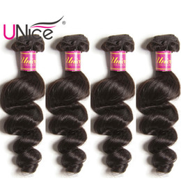 UNice Hair 4 Bundles Brazilian Loose Wave Virgin Human Hair Bundle Indian Loose Hair Weaves Cheap Nice Bulk Peruvian Malaysian Remy Wefts